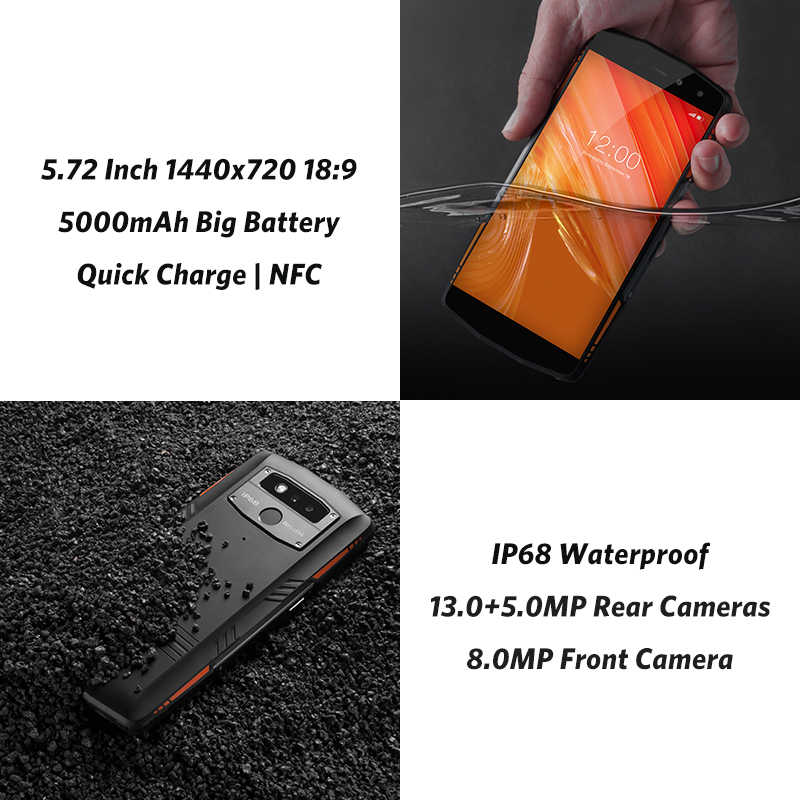 "LEAGOO X-Rover IP68 impermeable Smartphone 5,72 ""6 GB 128GB MTK6763 Octa Core NFC Face ID 13MP Cámara Dual 5000mAh 4G teléfono resistente"