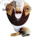 Сказочный Шоколадный Коричневый Золотой Шампанское Кристалл Нигерии Традиционные Свадебные Африканские Бусы Комплект Ювелирных Изделий Бесплатная Доставка ABD397
