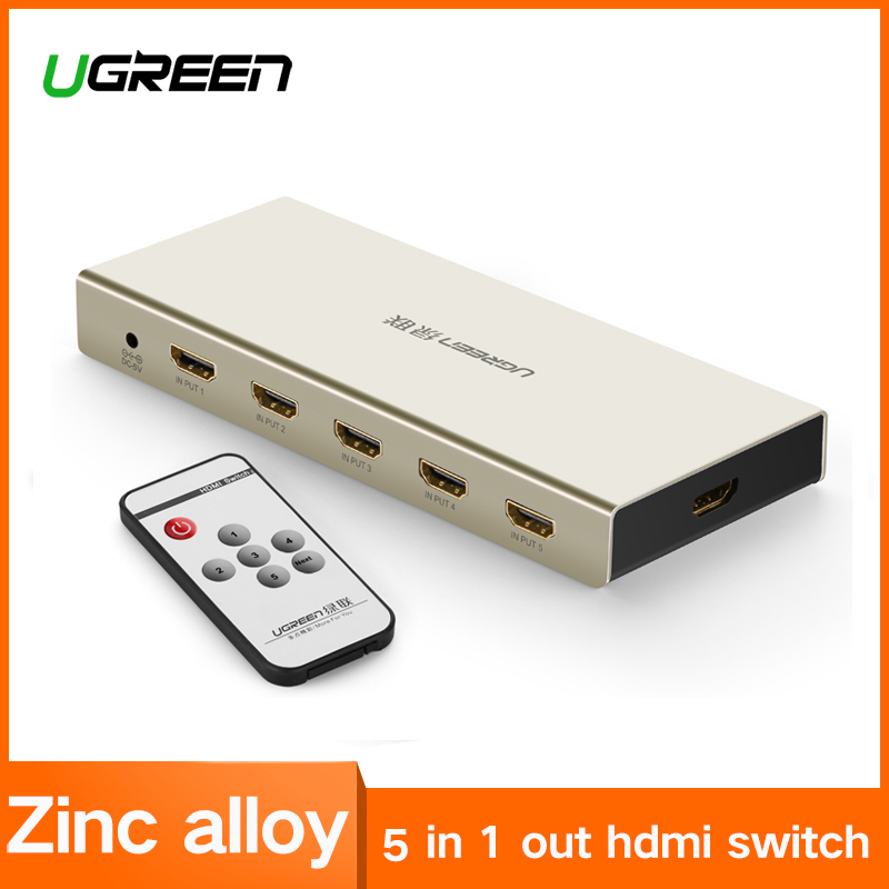 UGREEN interruptor HDMI 4 k x 2 K 5 Puerto 5 en 1 HDMI Splitter conmutador caja apoya 3D Compatible para televisores de los reproductores de Blu-ray Xbox PS3/4