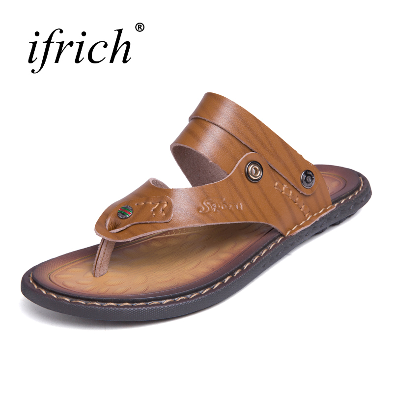 Ifrich Mens Leather Sandals Slip-on Mans Shoes Large Sizes 38-47 Shoes 2018 Casual Summer Comfortable Sandals for Men