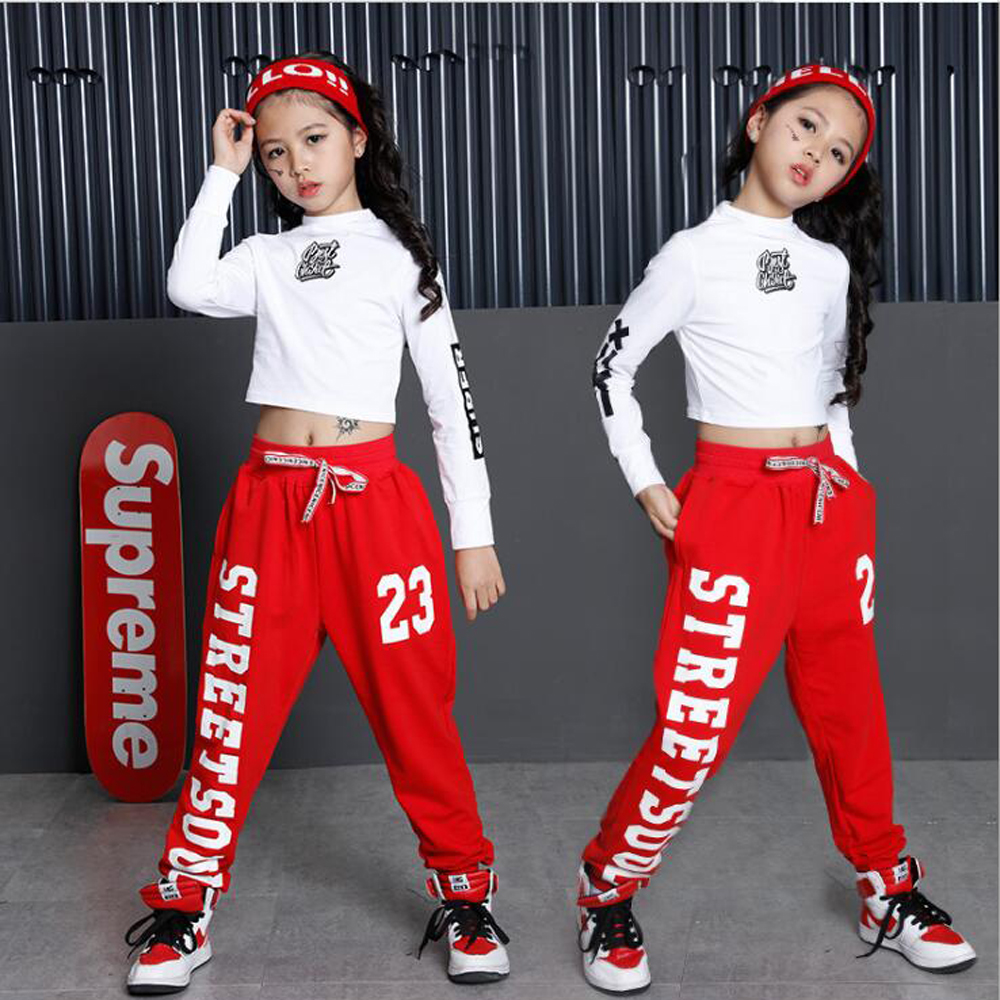 Fête des enfants spectacle Performance Costumes enfants vêtements Hip Hop Dancewear tenues filles moderne Jazz danse Costumes ensembles Top + pantalon
