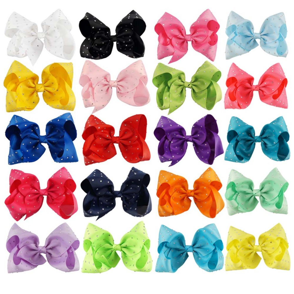 2 Pcs/lot 7 inch Boutique Rhinestone Hair Bows for Girls Grosgrain Ribbon Bow with Clip Kids Party Hair Accessories 10pcs lot high quality hair band with grosgrain ribbon flower for girls handmade flower hairbow hairband kids hair accessories