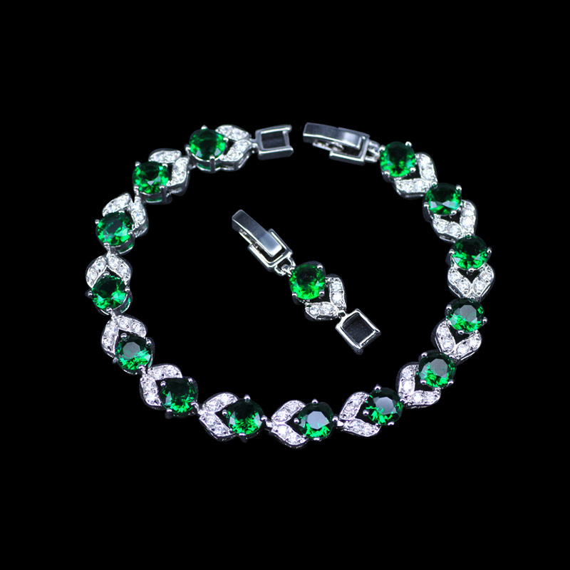 L&B Flower 18CM +2CM Silver Color Link Chain Bracelets For Women With Round Top AAA+ Green Cubic Zirconia Wedding Jewelry