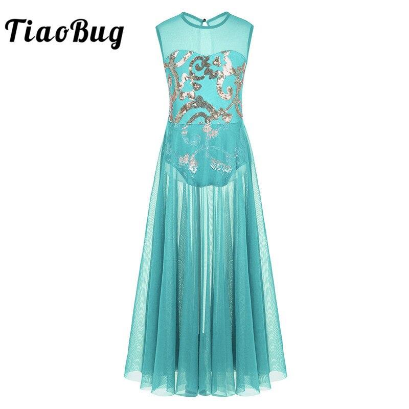 TiaoBug Girls Shiny Floral Sequins Leotard Dress Kids Mesh Celebration Gorgeous Vintage Ballet Dance Stage Ballerina Long Dress