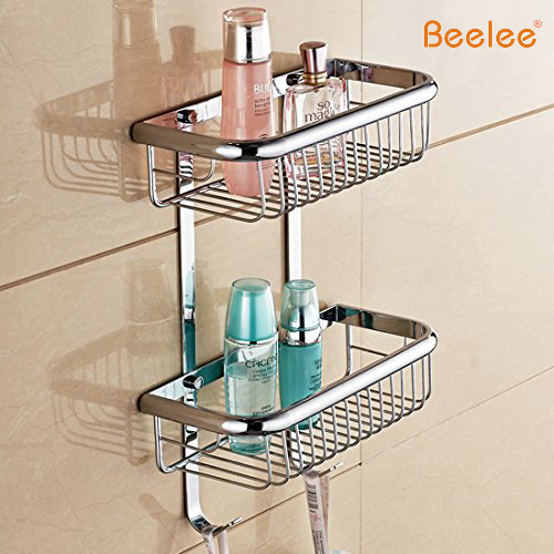 Wall Mount Solid Brass 2 Tiers Dual Rectangle Wire Baskets Bathroom Shower Storage Cosmetic Holder Shower