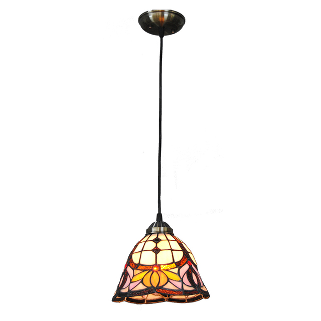 Tiffany lily flower pattern pendant light baroque style hanging tiffany lily flower pattern pendant light baroque style hanging lamp 8 inch stained glass suspended luminaire aloadofball Gallery