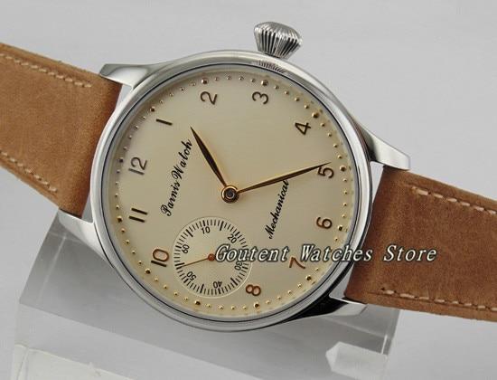 44mm Parnis srebrny Dial 6497 mewa ręcznie nakręcany mechaniczne zegarki zegarek męski w Zegarki mechaniczne od Zegarki na  Grupa 1