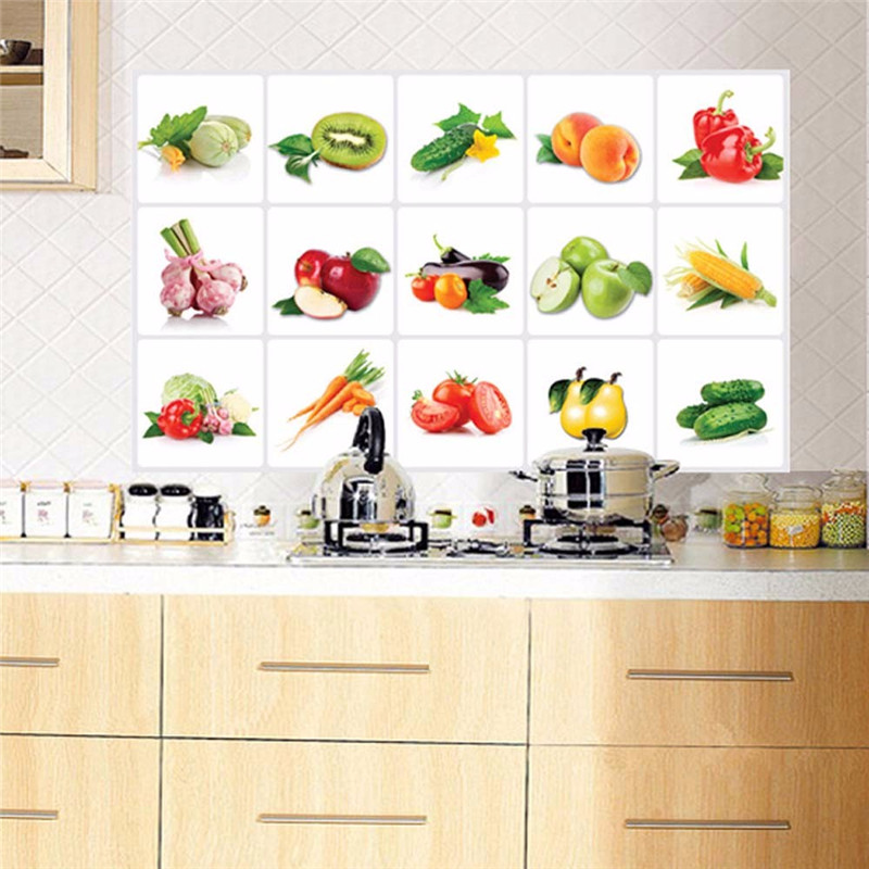 Fashion Kitchen Vegetable wall sticker waterproof/Oil proof Veg Fruit Sticking poster Aluminum foil material for home kitchen