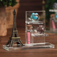 High Quality Eiffel Tower PIG Glass Jar Crystal Decorative Crafts Luminescent Gift Clear Small Bottles With