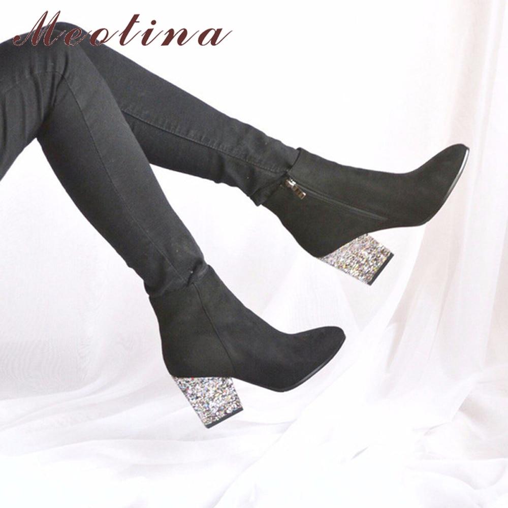 Designer Women Boots Shoes Women High Heels Ankle Boots Zipper Pointed Toe Glitt