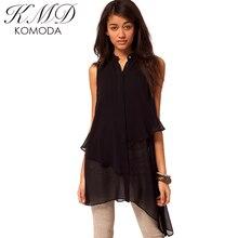 KMD KOMODA Black Bottom Opening Stand Collar Double Layer Sleeveless Left-Right Asymmetry Women Shirt Chiffon Female Blouse