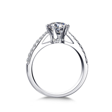 ZOCAI True Love Crown 0.30 ct certified D-E Top Color Diamond 18K White gold (Au750) Diamond Engagement Ring W04676