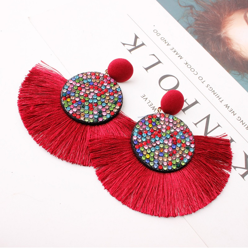 Exknl Fashion Tassel Vintage Statement Drop Earrings for Women Black Red Yellow Big Bohemian Dangle Fringe Earrings 19 Jewelry 12