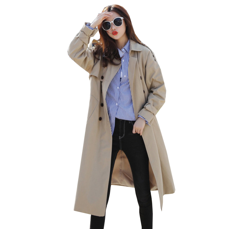 High quality 2018 Autumn New Fashion Women Loose large size Classic Double Breasted   Trench   Coat Business Outerwear with belt