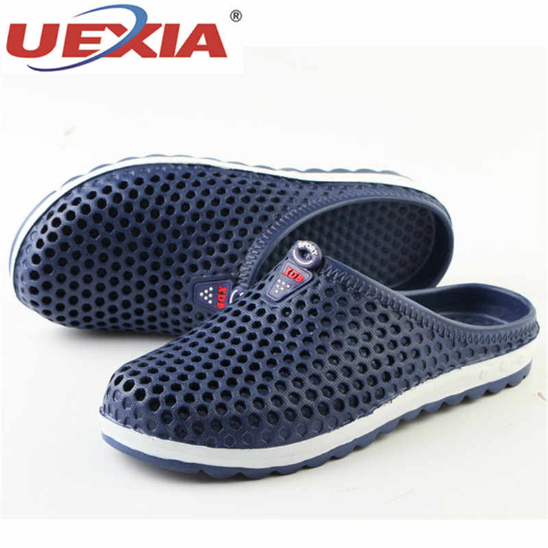5e33434e60aec ... UEXIA 2018 New Men Slippers Summer Slides Breathable Man Shoes Fashion  Flats Sandals Male Flip Flops