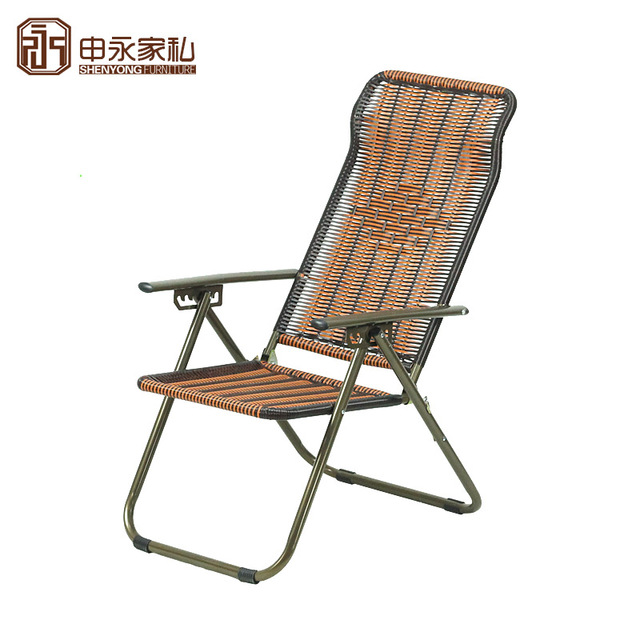Plastic Rattan Chair Two Folding Deck Chairs Office Lunch Siesta Lounge  Accompanying