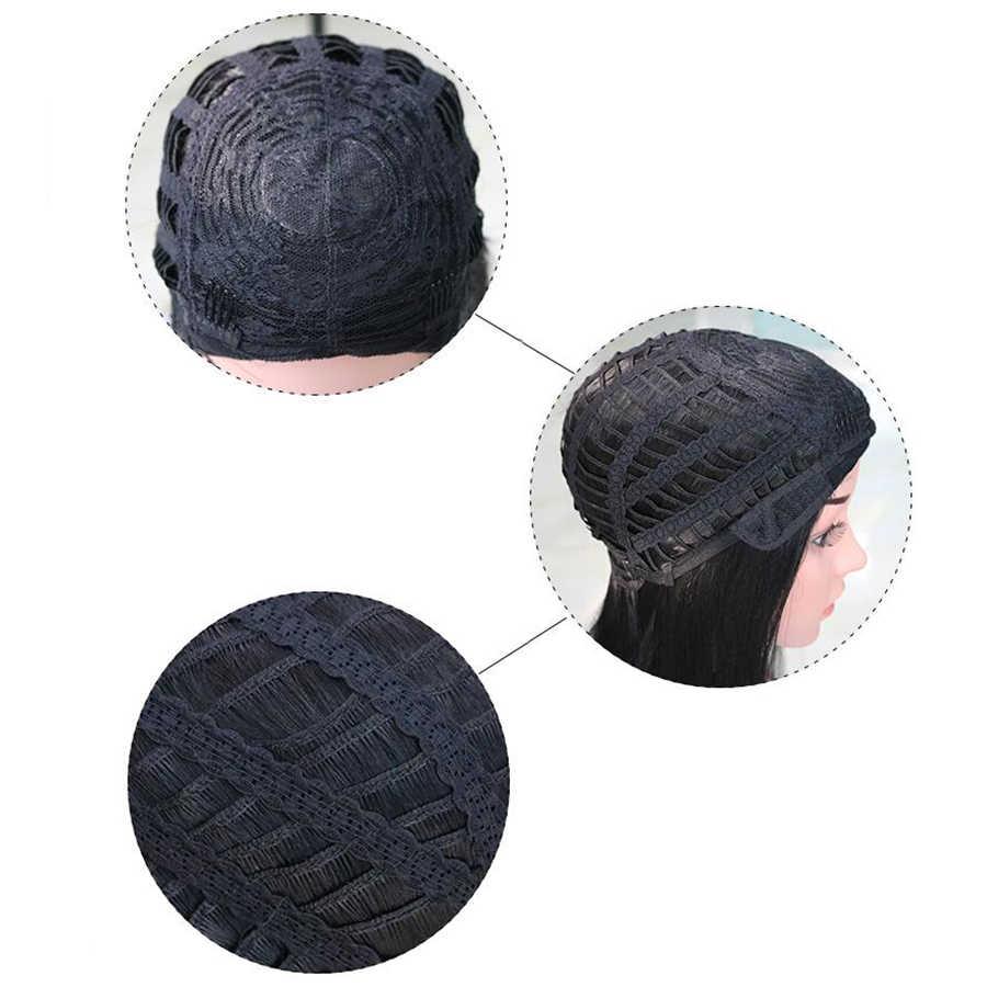 Soowee ショートカーリー黒かつらかつら人工毛耐熱繊維パーティーの髪ピース帽子女性