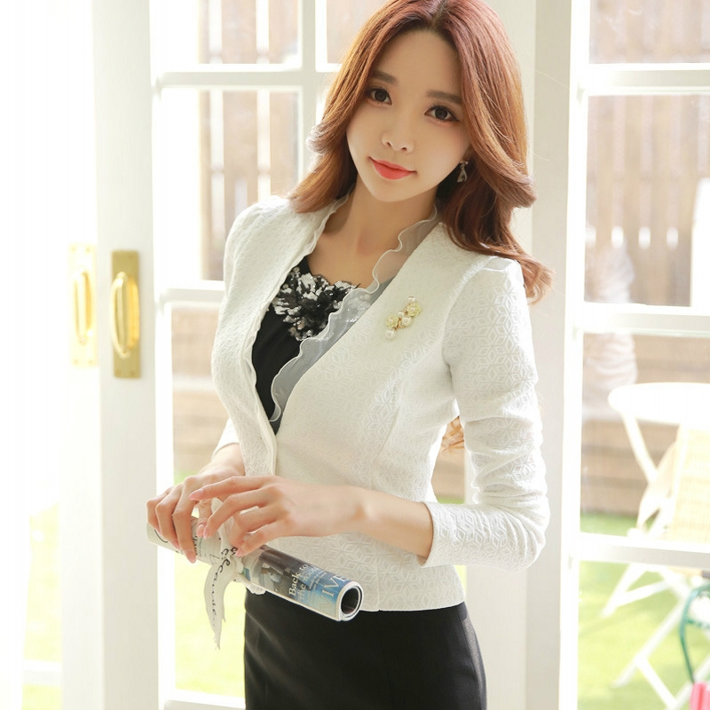 Spring Autumn Women Blazer White Mesh Bordered Ruffled Slim Single Button Short Blazer Long Sleeve Jacket Coat Outwear C91591
