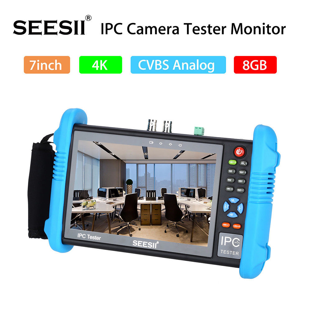 SEESII 9800PLUS 7 IP Camera Tester 4K 1080P IPC CCTV Monitor CVBS Video Audio POE Test Touch Screen HDMI Output Discovery 8GB