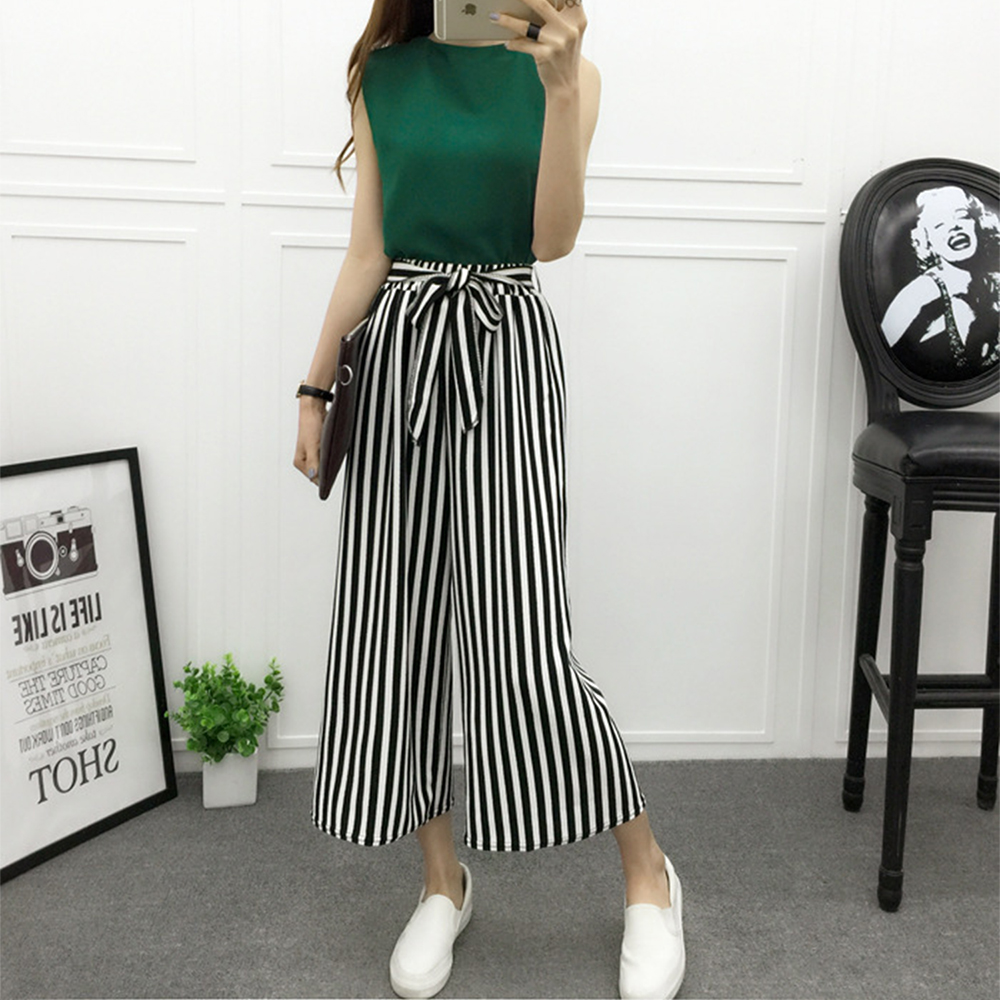 Fashion Summer Wide Leg Pants Women High Waist Plaid Striped Loose Palazzo Pants Elegant Office Ladies Trousers Spring New