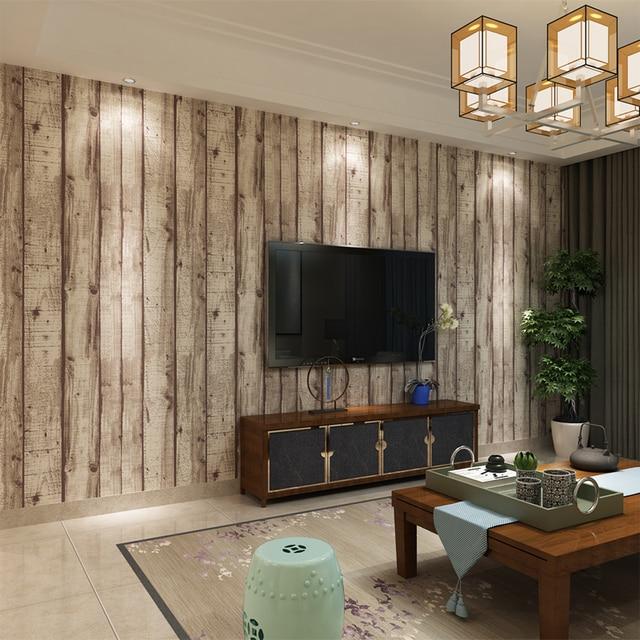 hanmero 3d vintage weiß gestreiften holz tapete chinesischen retro ... - Retro Tapete Wohnzimmer