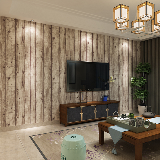 hanmero 3d vintage wei gestreiften holz tapete. Black Bedroom Furniture Sets. Home Design Ideas