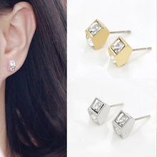 Cool Fashion Style Gold/Silver/Black Plated Alloy Triangle/Round/Square Studs Earrings For Women Dress Jewelry(China)