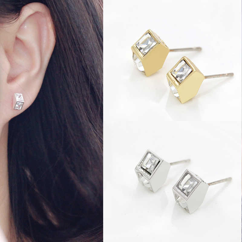 Cool Fashion Style Gold/Silver/Black Plated Alloy Triangle/Round/Square Studs Earrings For Women Dress Jewelry