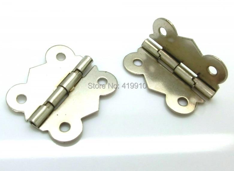 Free Shipping-30pcs Silver Tone 4 Holes Box Butt Hinges 3x2.6cm J2017