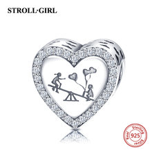 925 sterling silver heart shape charms beads Child playing seesaw fit Pandora bracelet fashion diy jewelry for women gift(China)