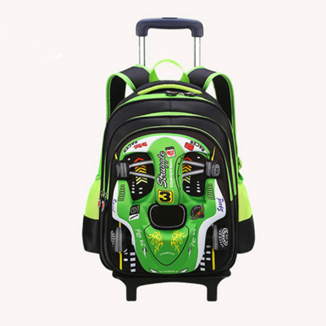 children school bags with wheels Travel Trolley school backpack for boys Kids 3D car cartoon school Backpacks Mochila Infantil 1
