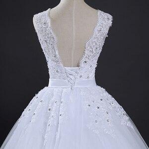 Image 5 - Fansmile uzun tren Vintage Lace Up yay prenses gelinlik 2020 beyaz gelin balo Robe de Mariee gerçek fotoğraf FSM 089T