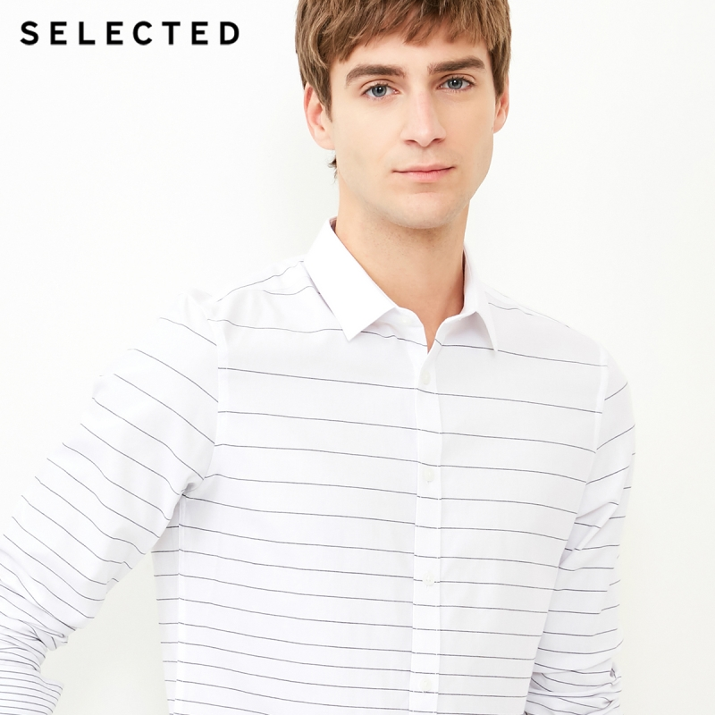 SELECTED Men's 100% Cotton Striped Slim Fit Business Casual Long-sleeved Shirt S|418105539