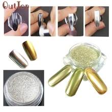 GEACEFUL1g/Box Gold Sliver Nail Glitter Powder Shinning Mirror Eye Shadow Makeup Powder Dust Nail Art DIY Chrome Pigment Glitter