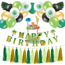 Jungle Birthday Party Decoration Set  Tropical Zoo Happy Banner Cake Topper Palm Leaves Balloons Cartoon Animals Decor