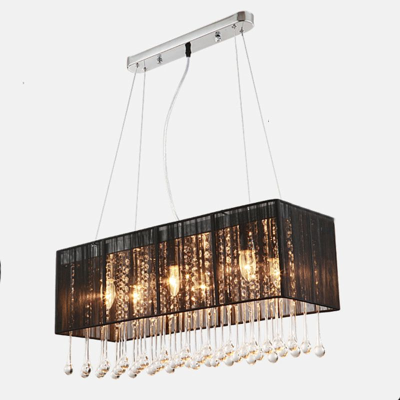 AliExpress & US $339.0 |Black bathroom chandelier Rectangle Design Cloth Lampshade Crystal Chandelier E14 Light Home Decoration Lighting for Dining Room-in ...