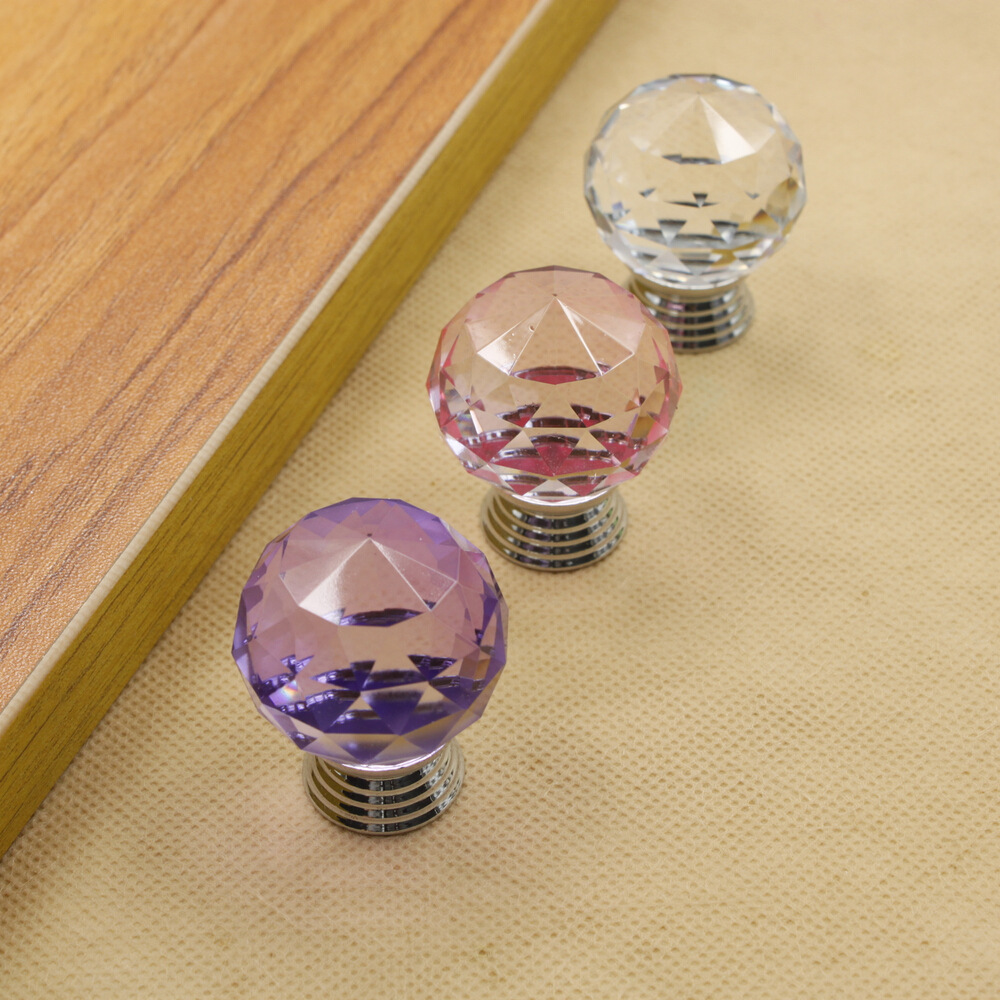 30mm Round Ball Crystal Glass Door Knobs Drawer Cabinet