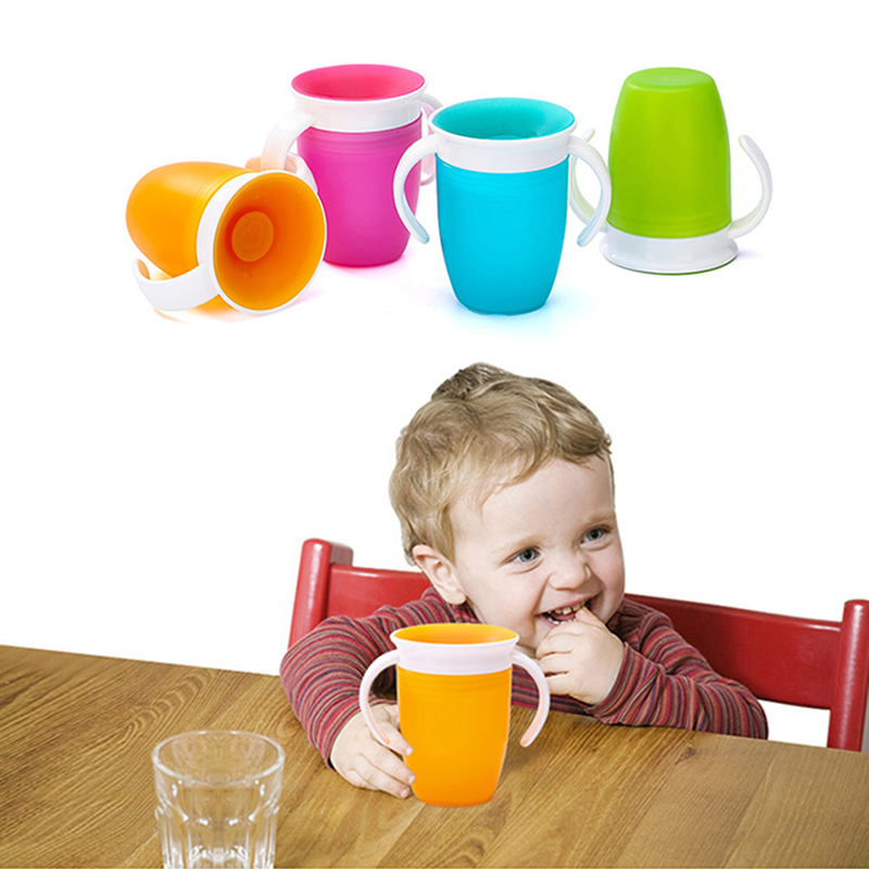 360 Degrees Can Be Rotated Baby Learning Drinking Cup With Handles Anti Spill Infant Training Leakproof Water Cup Bottle MBG0432