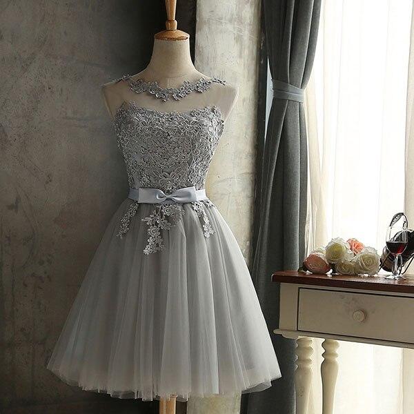 DEERVEADO халат Коктейльные Вечерние платье элегантное платье с низким вырезом на спине Короткие коктейльные платья с регулируемой шнуровкой на спине, платье для выпускного вечера CH604B - Цвет: Серый