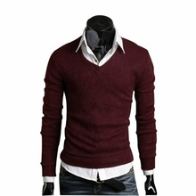 2016 Best Goods Spring Autumn Winter Men Sweater Long Sleeve V-neck Casual Sweater Bottoming Pullovers Slim Business