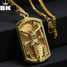 Gold Color Catholic Medal Pendant Necklace Fashion Hip Hop Cross Jesus Christians Iced Out Chain Long Necklace Fashion Jewelry(China)