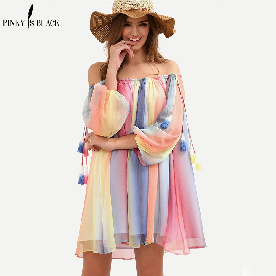 Pinky Is Black Seven color spliced off shoulder summer dress women half sleeve loose tassel chiffon beach dress casual Vestidos