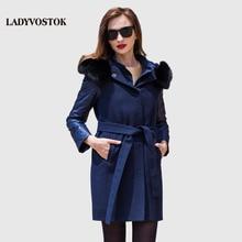 LADYVOSTO Autumn Winter long Woman coat Cashmere coat removable leisure loose large hat Dark buckle zipper Fox collars Y3618