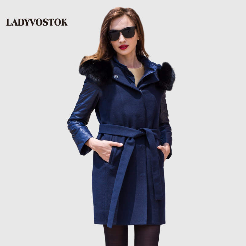 Vladivostok Otoño Invierno 2018 Mujer con Cuello de piel abrigo largo con forro abrigo caliente Y3618