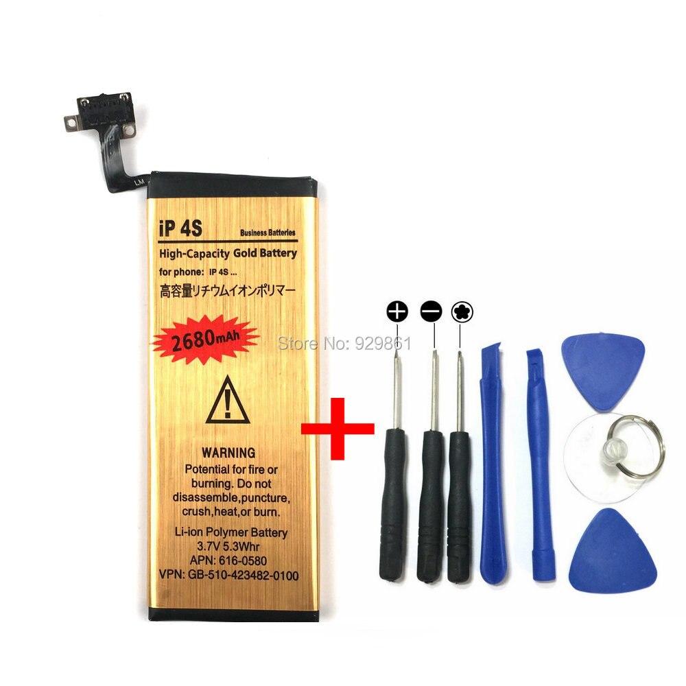 Nouveau 2680 mah Haute Capacité Or Li-ion Polymère Batterie Interne + Tournevis Outils Remplacement Pour iPhone 4S Téléphone Portable