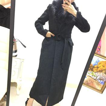 Winter fashion women woolen coat high imitation big fur collar black belted cashmere coat women slim x-long coat