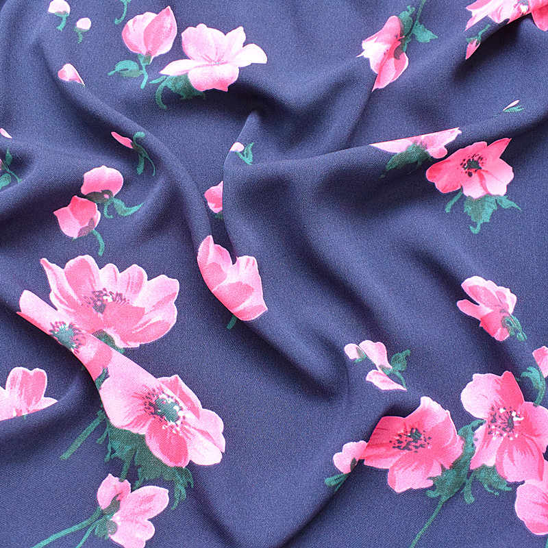 2019 new super thick ramie chiffon fabric spring and summer printed fabric navy blue small peach