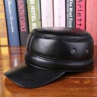 Leather hat man old winter sheepskin flat cap Claus warm peaked cap