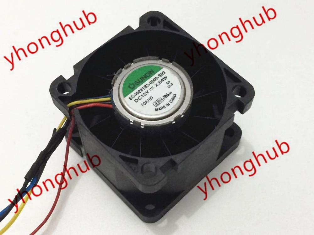 SUNON SG40281B3 0000 S99 DC 12V 2 64W 40x40x28mm 4 wire Server Cooler Fan