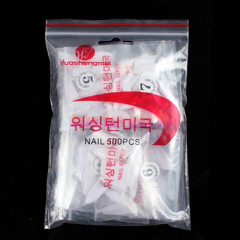 500 cái Stiletto Hình Dạng Điểm Trắng Tự Nhiên Acrylic Nail Pháp False UV Gel DIY Nail Mẹo #58053
